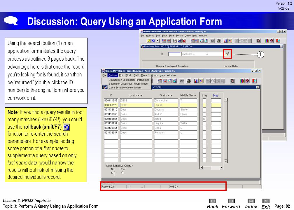 Discussion: Query Using an Application Form