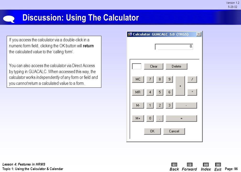 Discussion: Using The Calculator