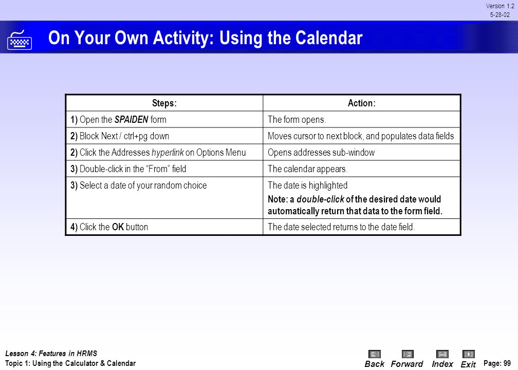 On Your Own Activity: Using the Calendar
