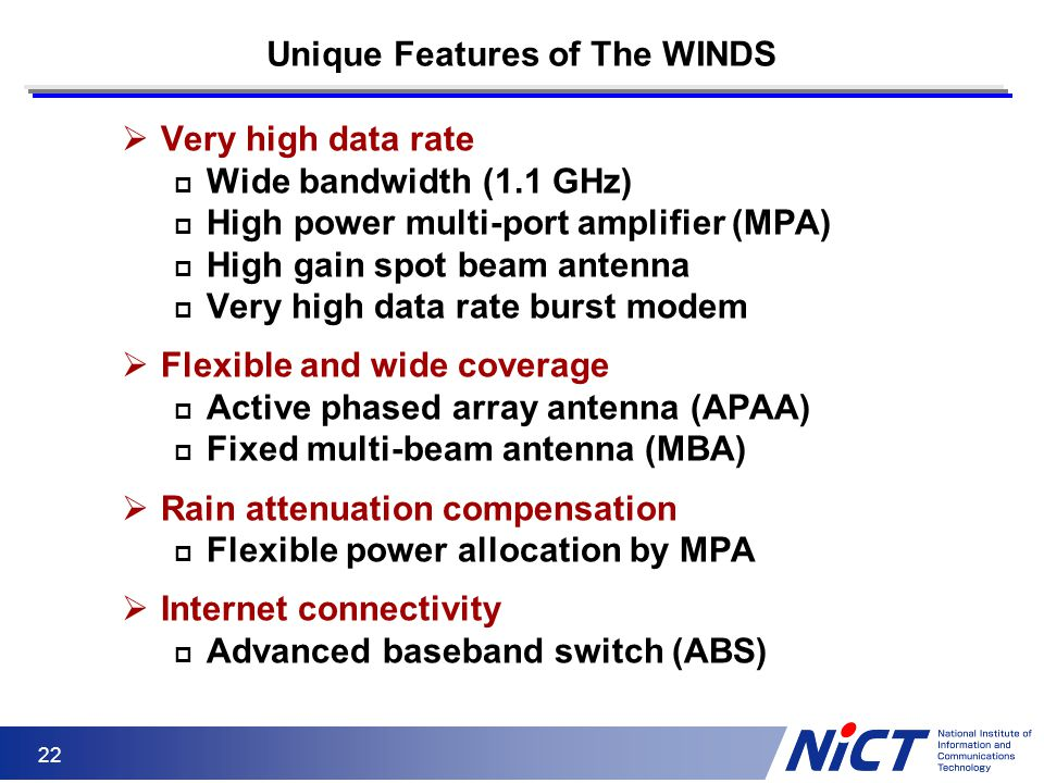 Unique Features of The WINDS