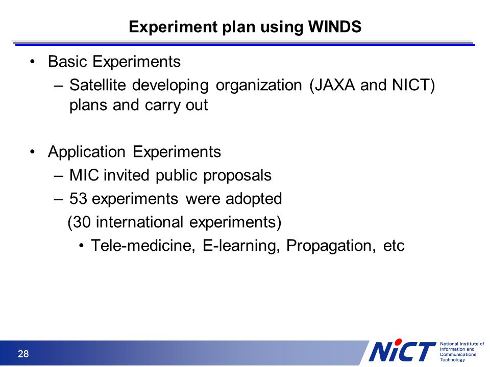 Experiment plan using WINDS