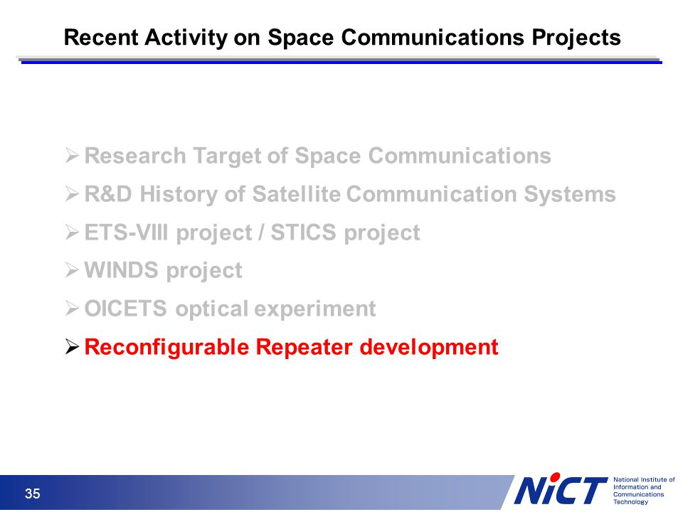 Recent Activity on Space Communications Projects