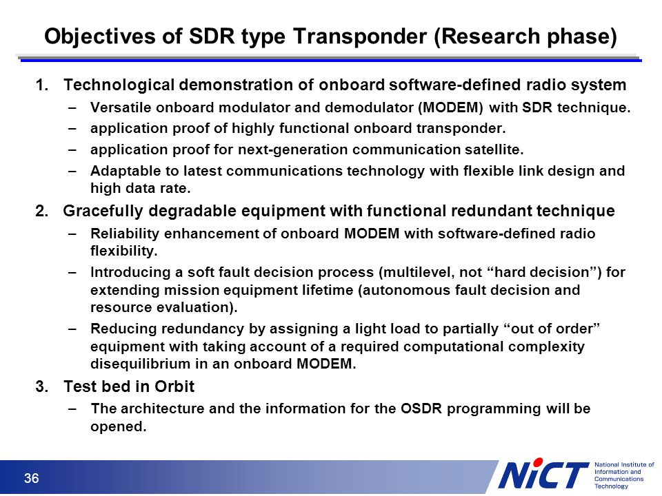 Objectives of SDR type Transponder (Research phase)