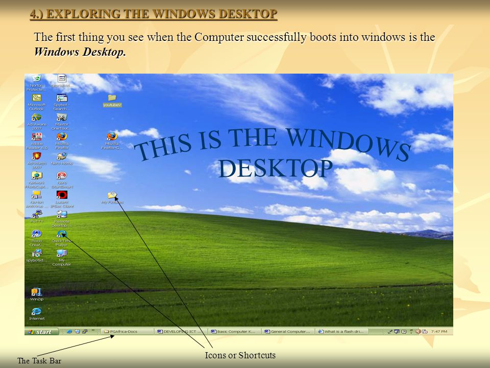 4.) EXPLORING THE WINDOWS DESKTOP