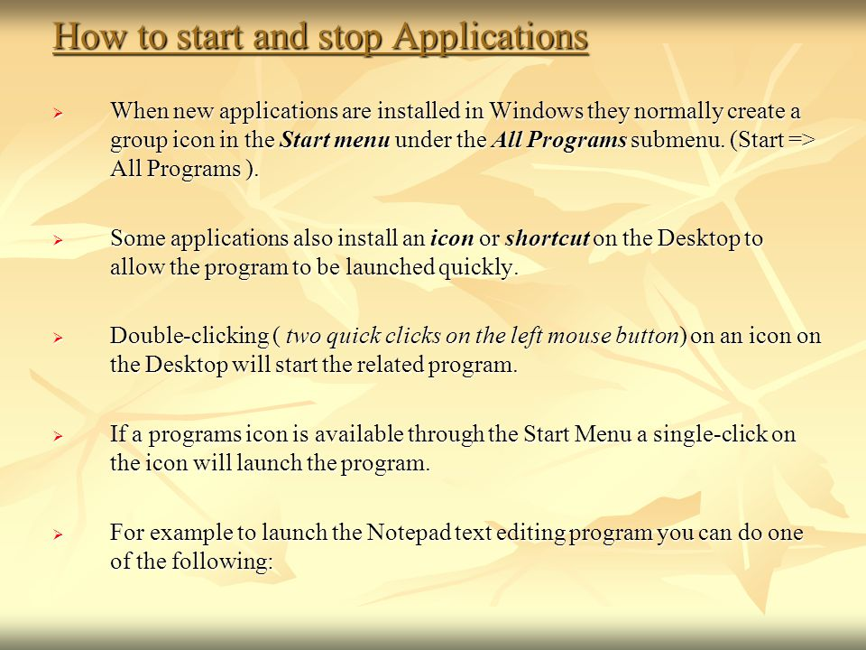 How to start and stop Applications