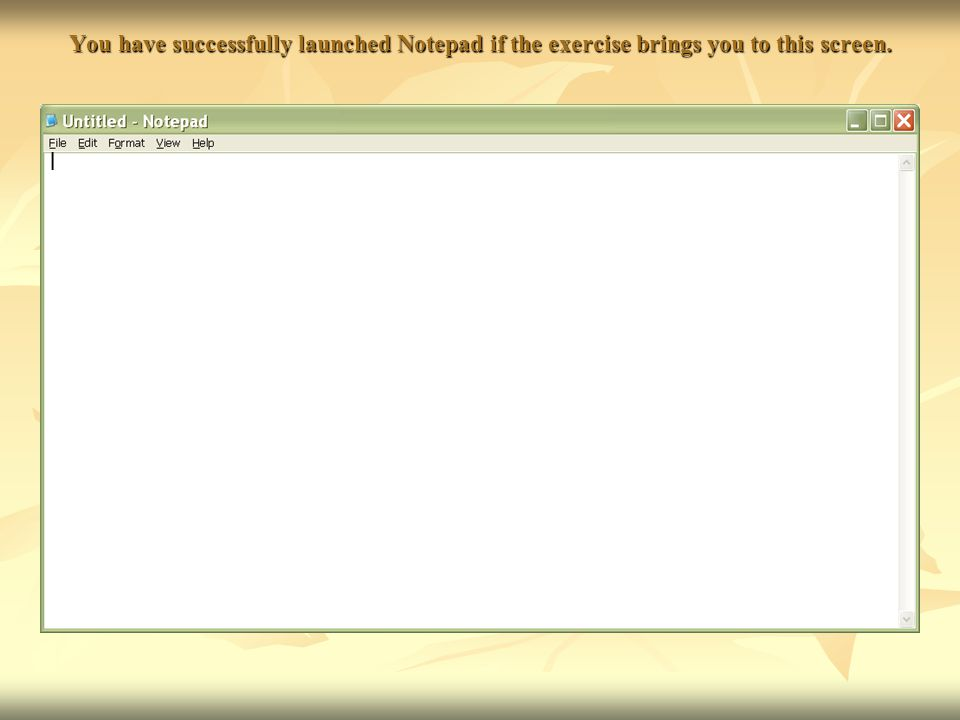 You have successfully launched Notepad if the exercise brings you to this screen.