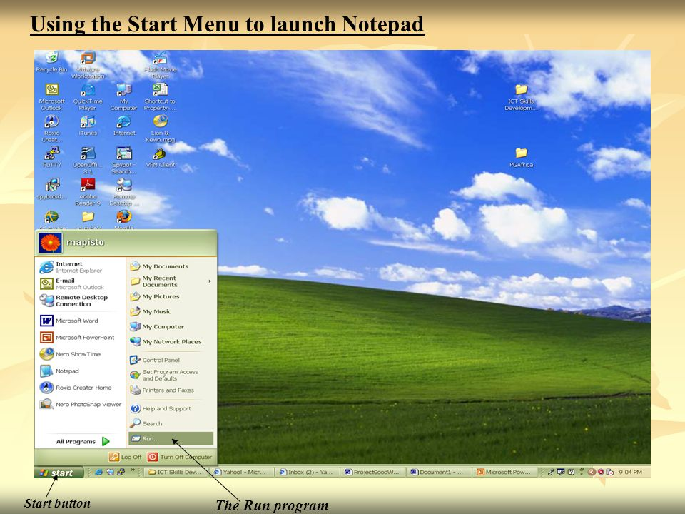 Using the Start Menu to launch Notepad
