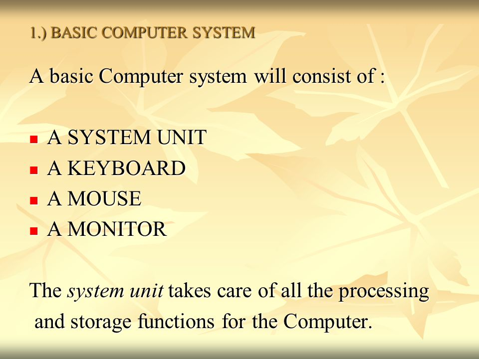 1.) BASIC COMPUTER SYSTEM