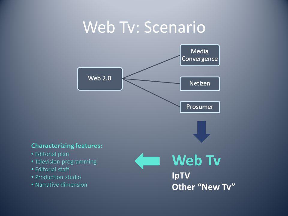 Web Tv: Scenario Web Tv IpTV Other New Tv Characterizing features: