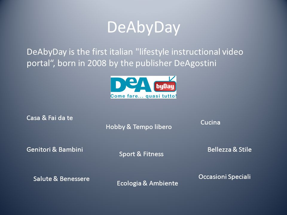 DeAbyDay DeAbyDay is the first italian lifestyle instructional video portal , born in 2008 by the publisher DeAgostini.