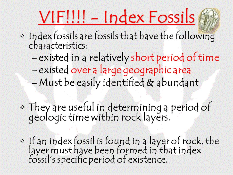 VIF!!!! - Index Fossils existed in a relatively short period of time