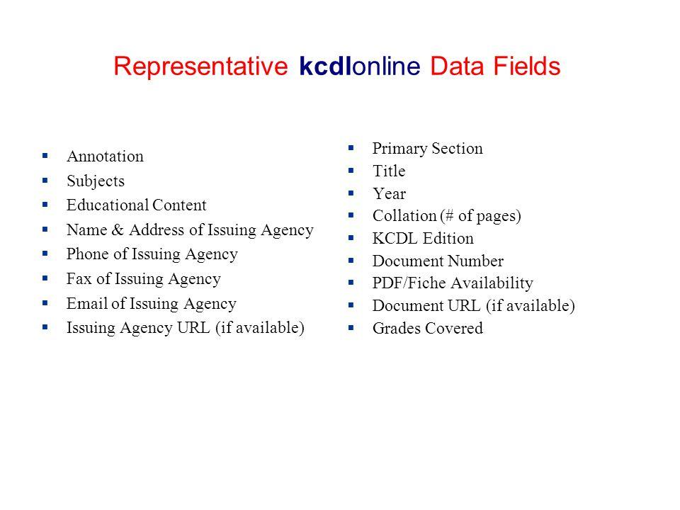 Representative kcdlonline Data Fields