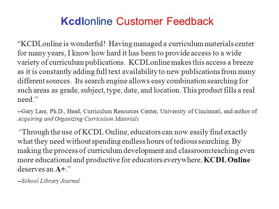 Kcdlonline Customer Feedback