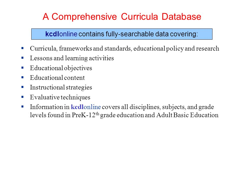 A Comprehensive Curricula Database