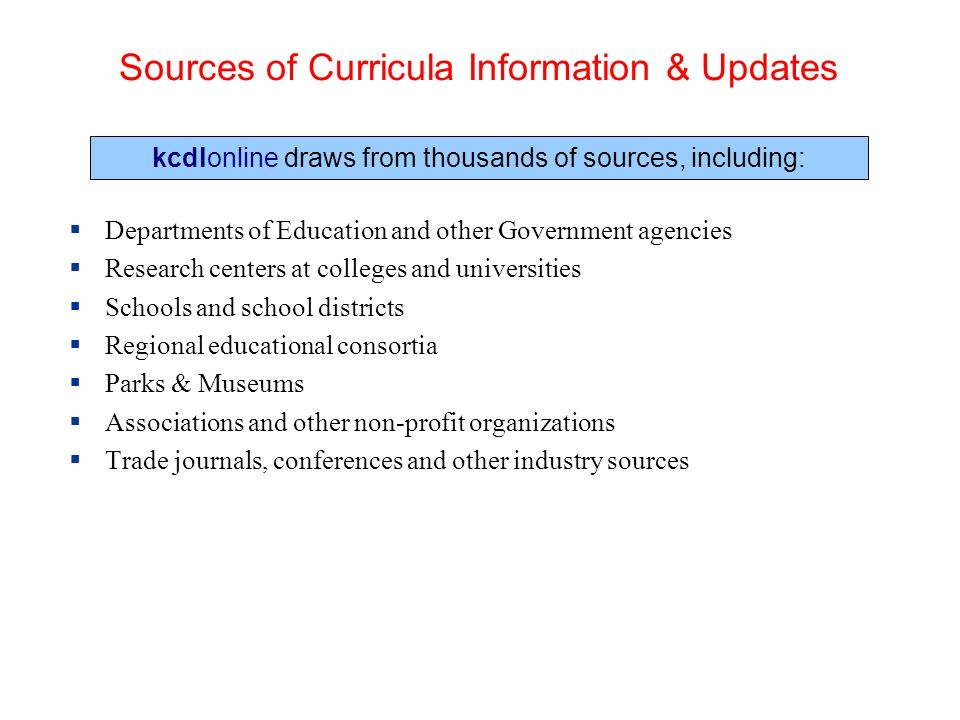 Sources of Curricula Information & Updates