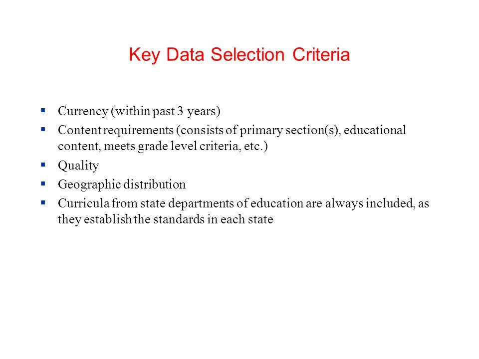 Key Data Selection Criteria