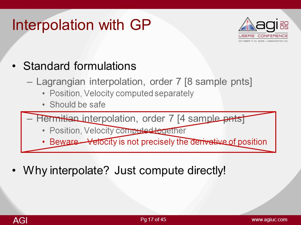 Interpolation with GP Standard formulations