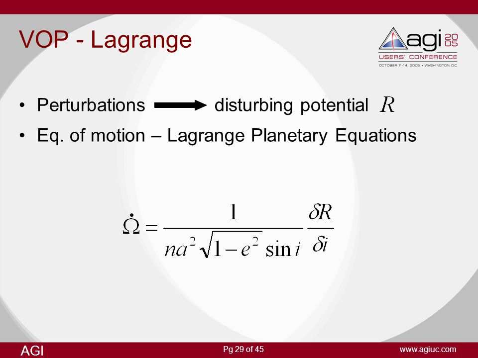 VOP - Lagrange Perturbations disturbing potential