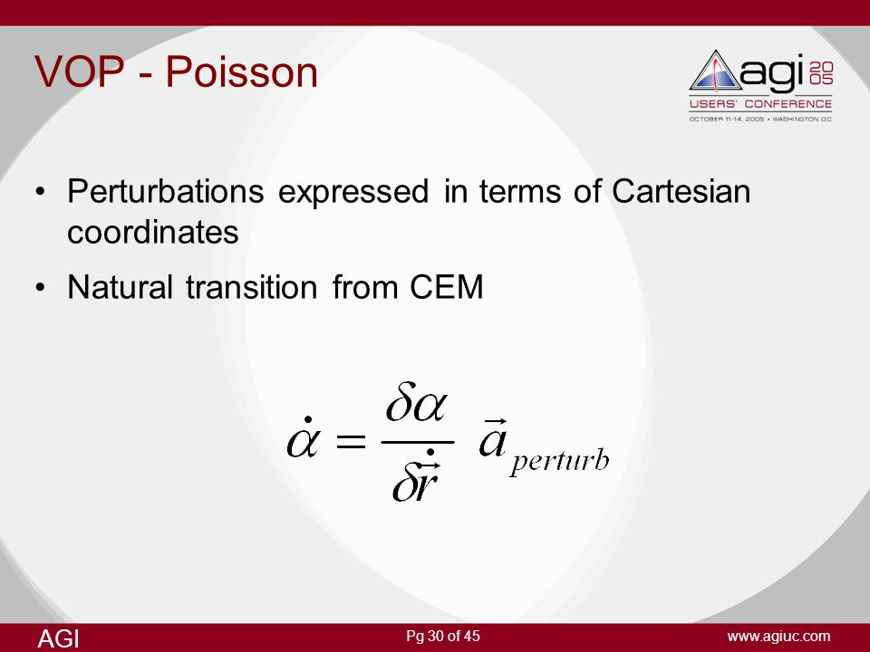 VOP - Poisson Perturbations expressed in terms of Cartesian coordinates.