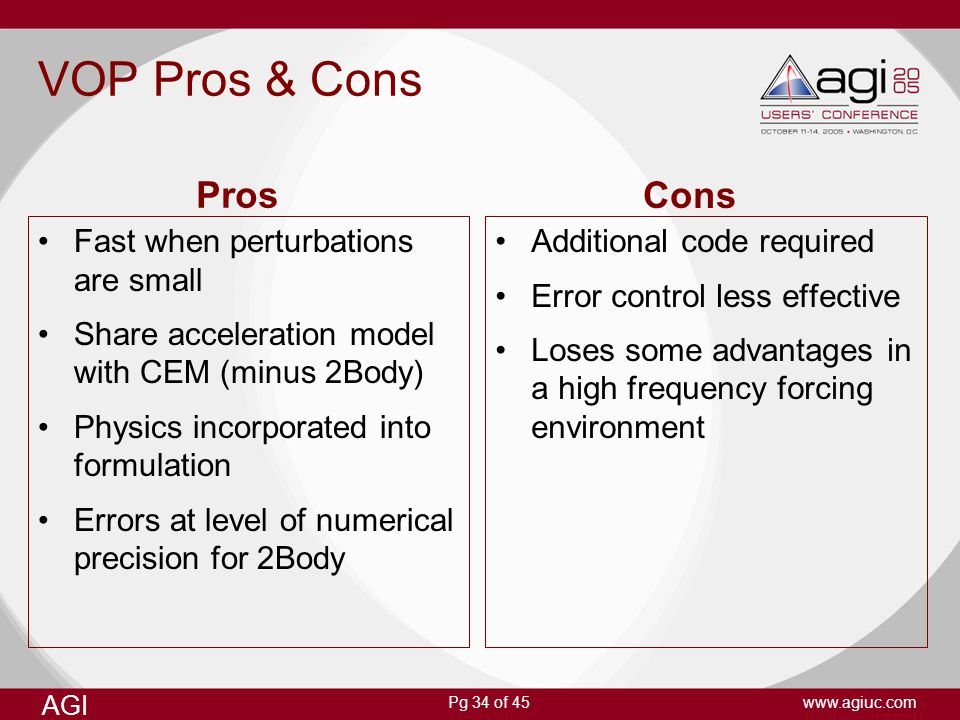 VOP Pros & Cons Pros Cons Fast when perturbations are small