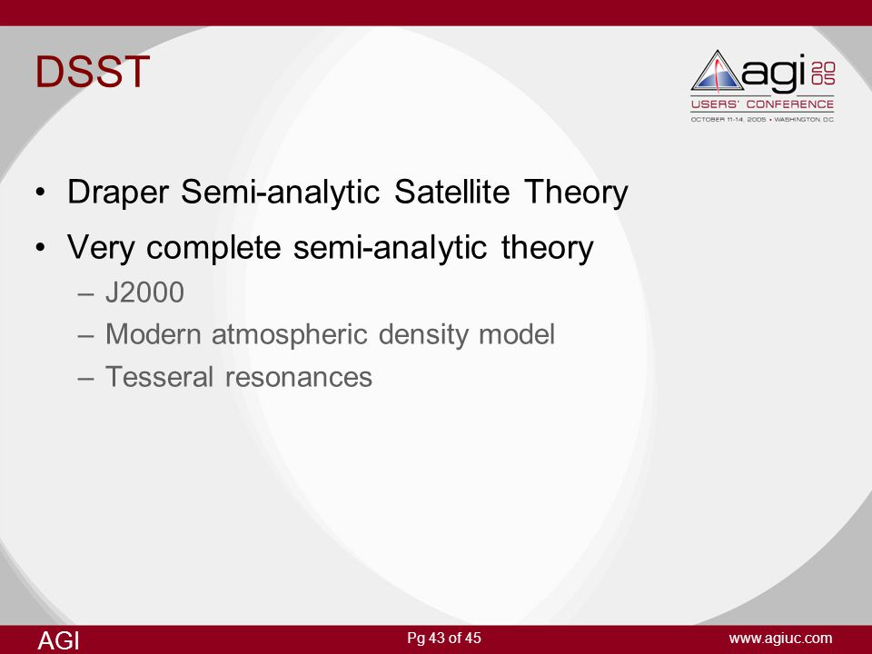 DSST Draper Semi-analytic Satellite Theory