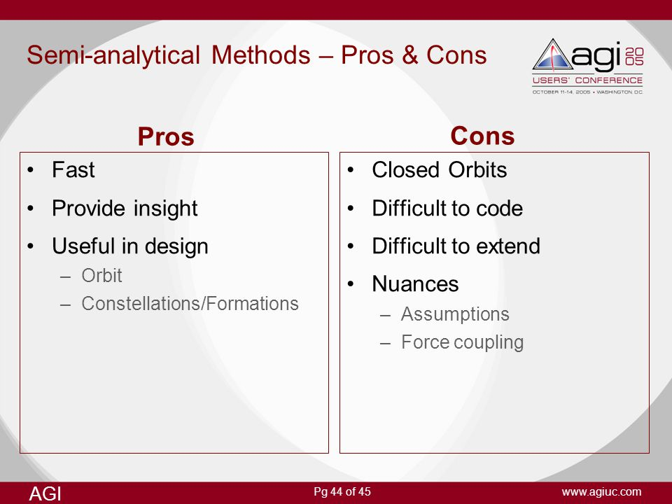 Semi-analytical Methods – Pros & Cons