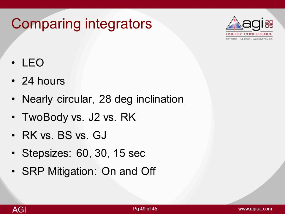 Comparing integrators