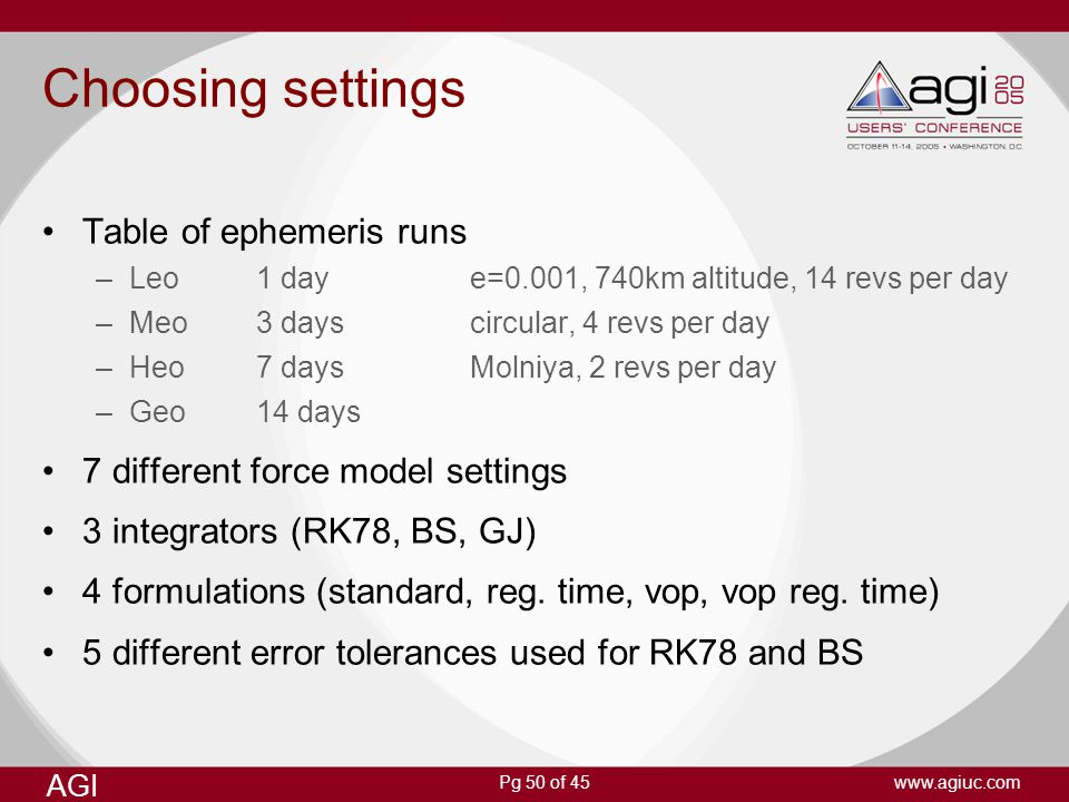 Choosing settings Table of ephemeris runs