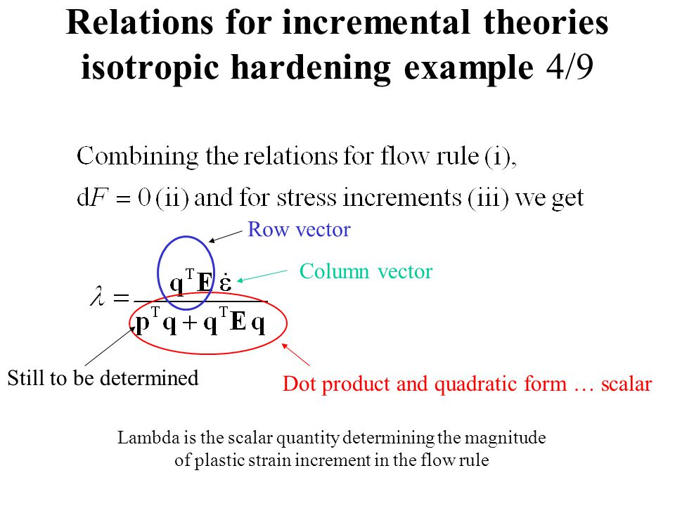 Relations for incremental theories isotropic hardening example 4/9