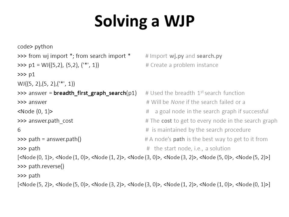 Solving a WJP code> python