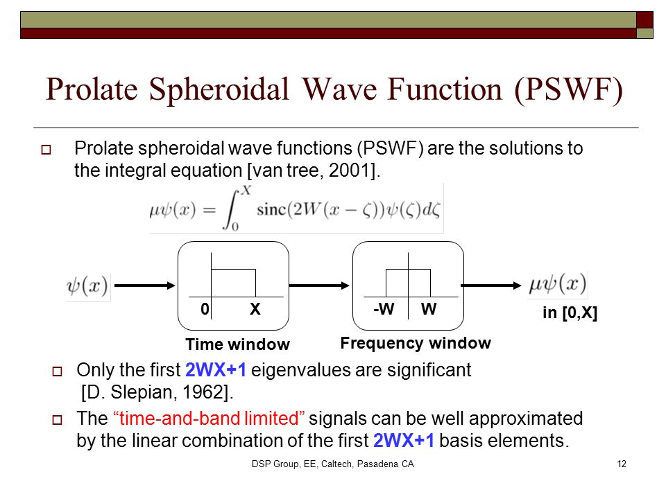 Prolate Spheroidal Wave Function (PSWF)