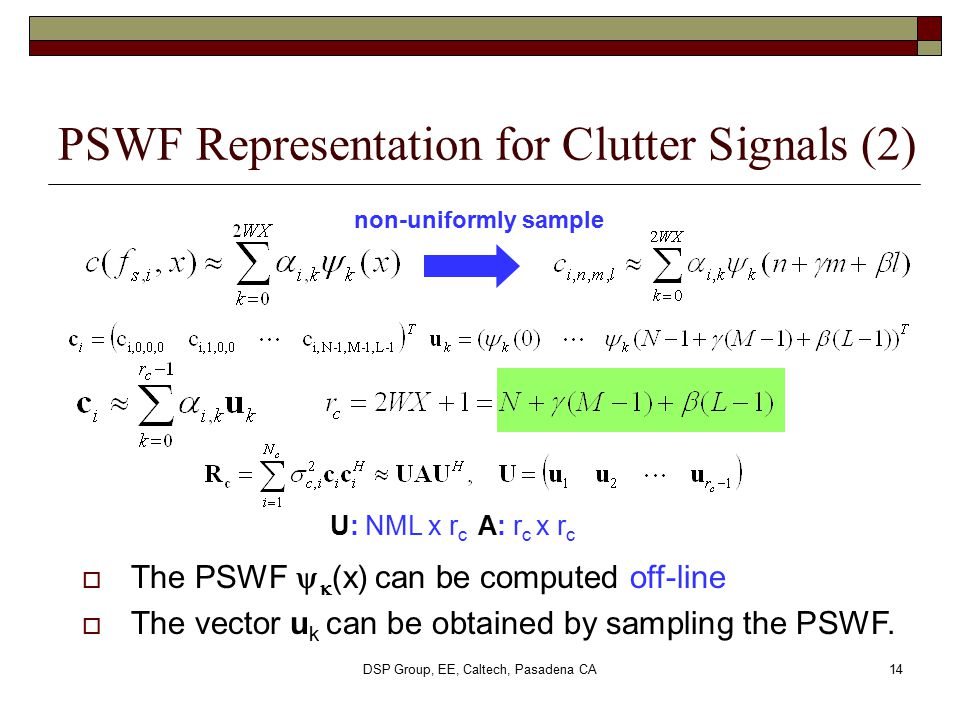 PSWF Representation for Clutter Signals (2)