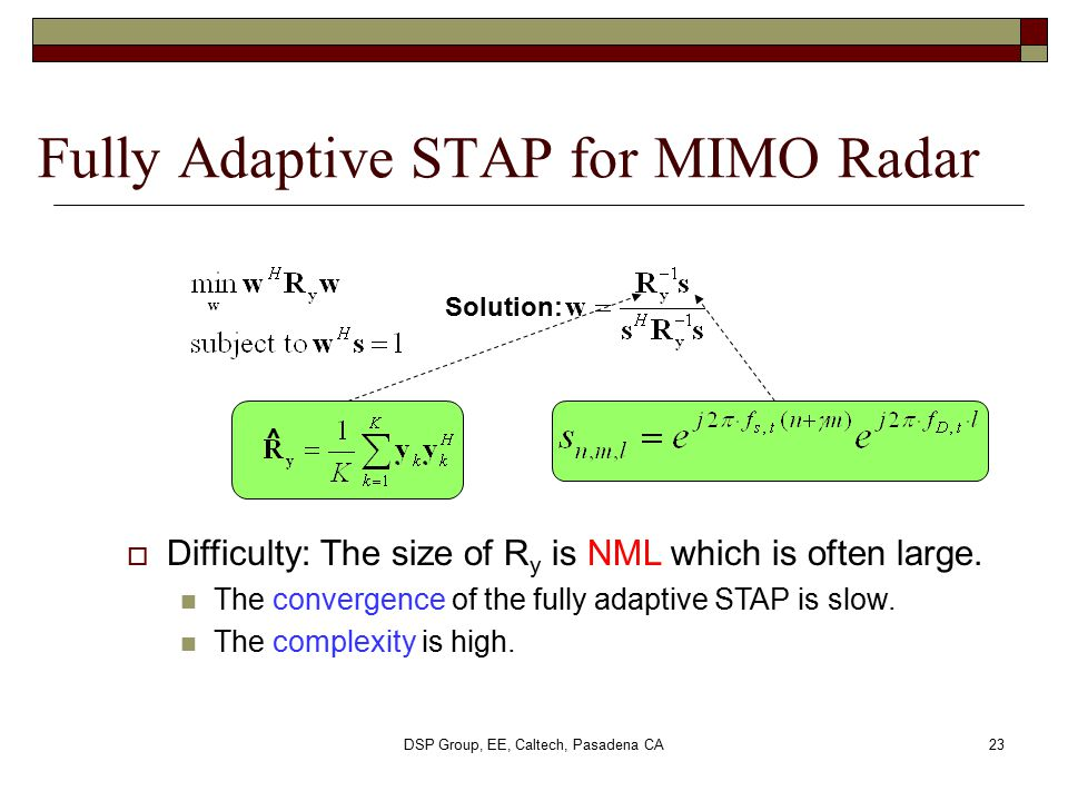 Fully Adaptive STAP for MIMO Radar
