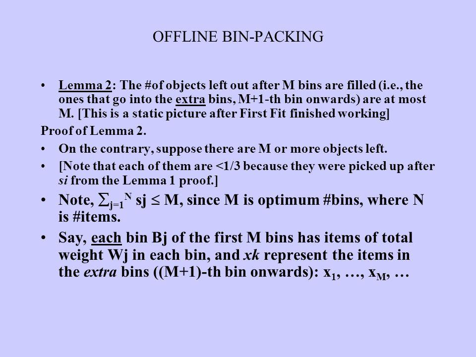 Note, j=1N sj  M, since M is optimum #bins, where N is #items.