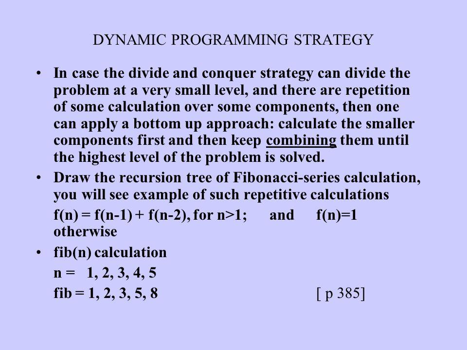 DYNAMIC PROGRAMMING STRATEGY