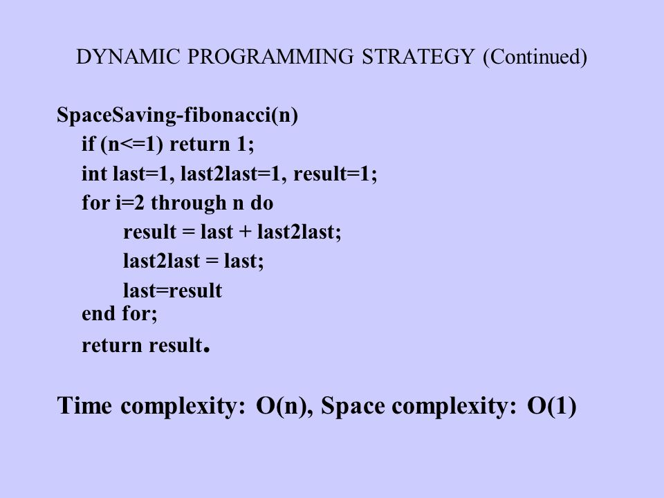 DYNAMIC PROGRAMMING STRATEGY (Continued)