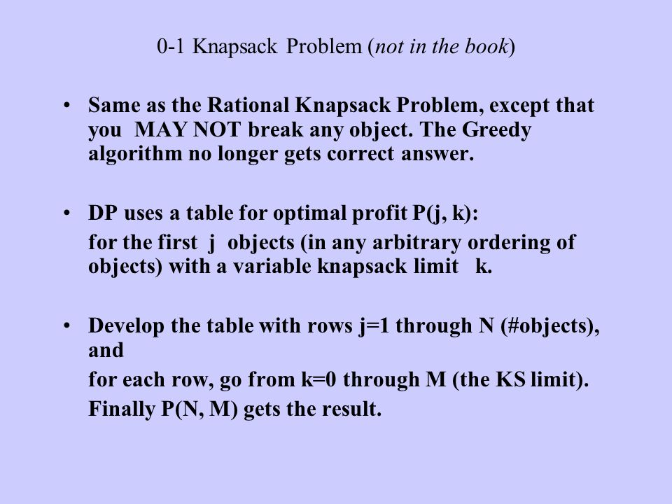 0-1 Knapsack Problem (not in the book)