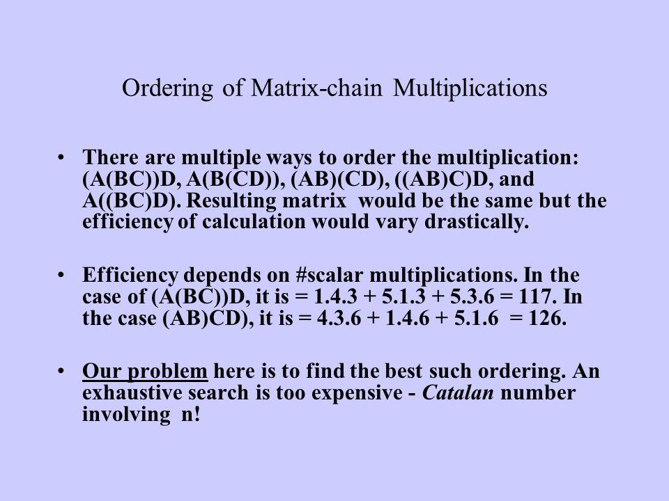 Ordering of Matrix-chain Multiplications