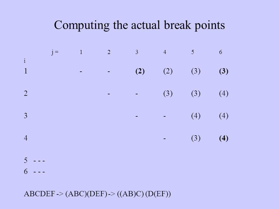 Computing the actual break points