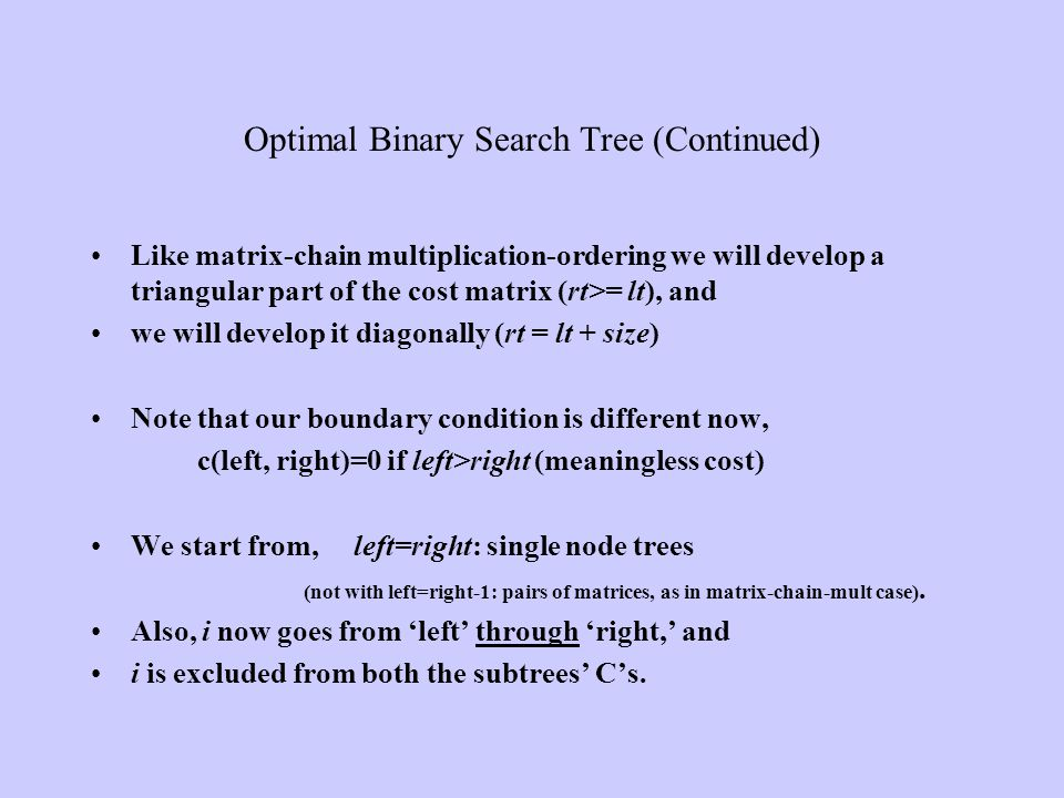 Optimal Binary Search Tree (Continued)