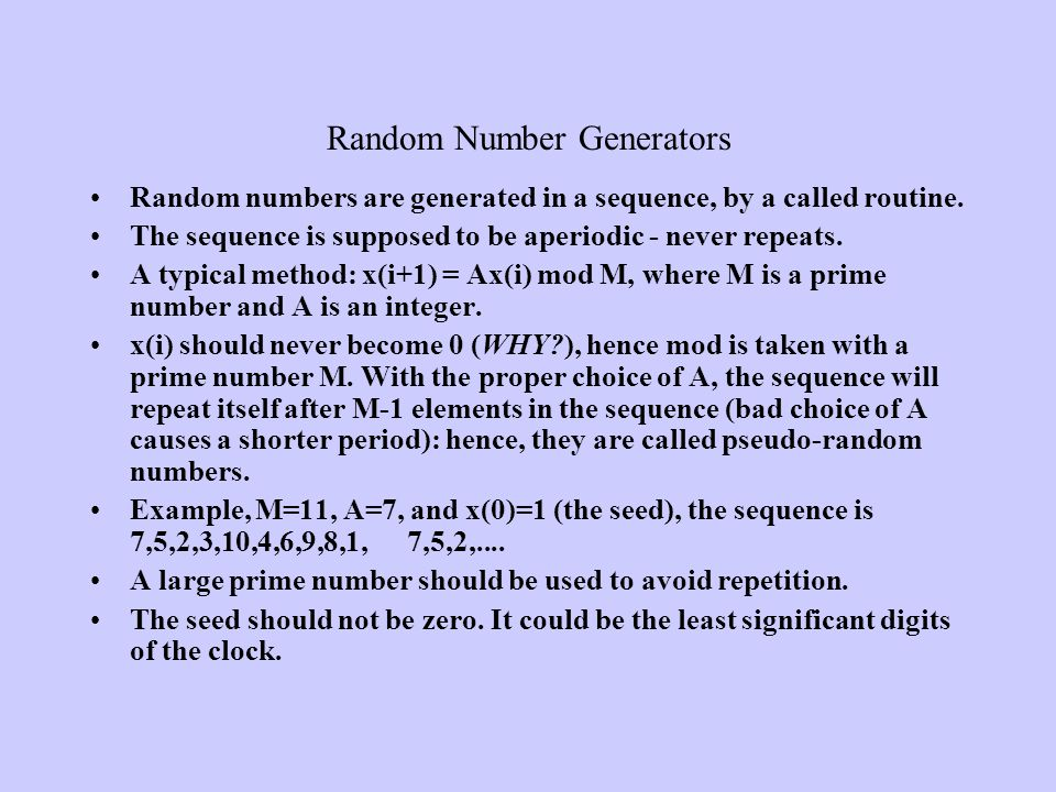 Random Number Generators