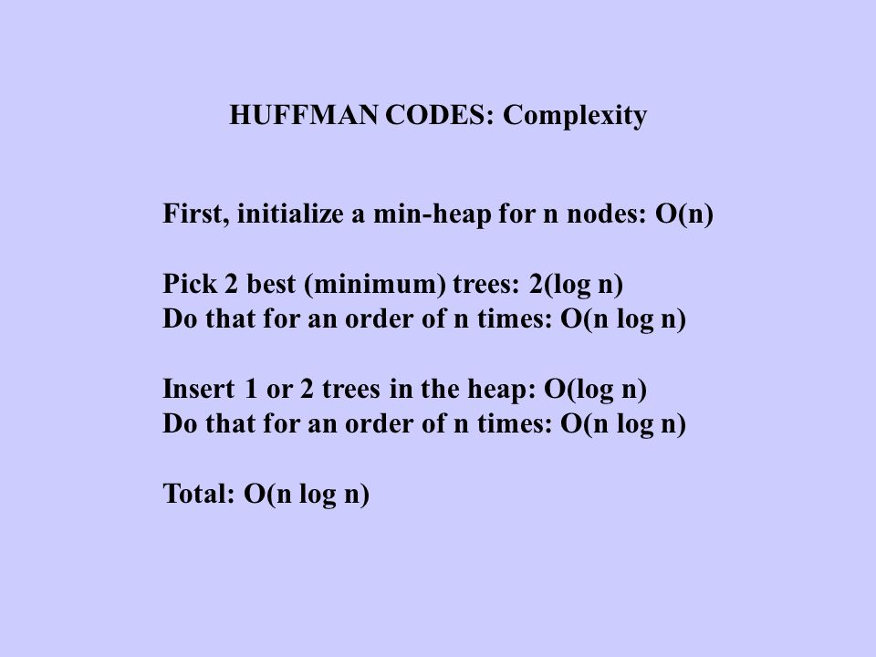 HUFFMAN CODES: Complexity
