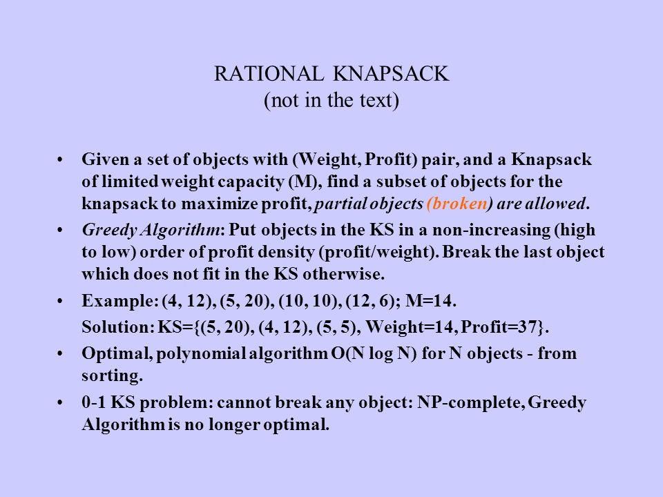 RATIONAL KNAPSACK (not in the text)