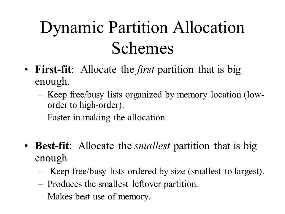 Dynamic Partition Allocation Schemes