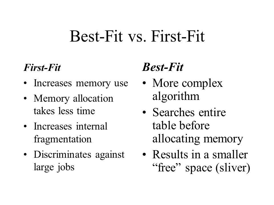 Best-Fit vs. First-Fit Best-Fit More complex algorithm