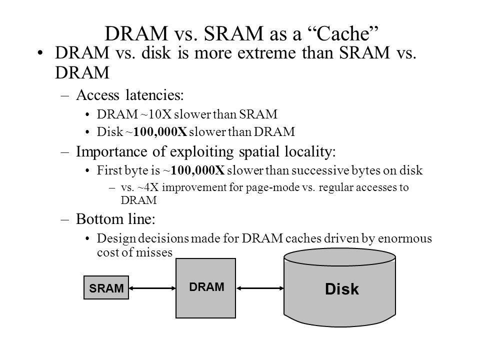 DRAM vs. SRAM as a Cache