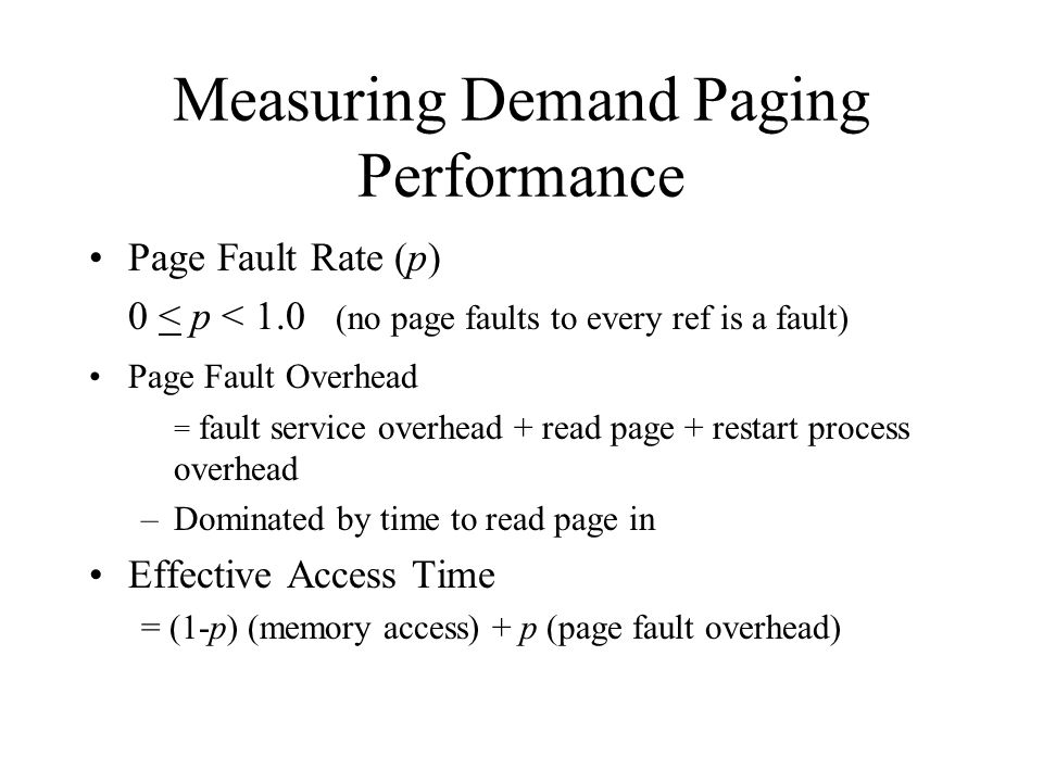 Measuring Demand Paging Performance