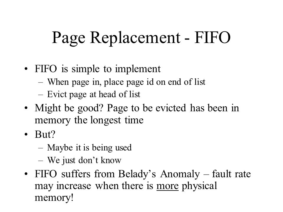 Page Replacement - FIFO