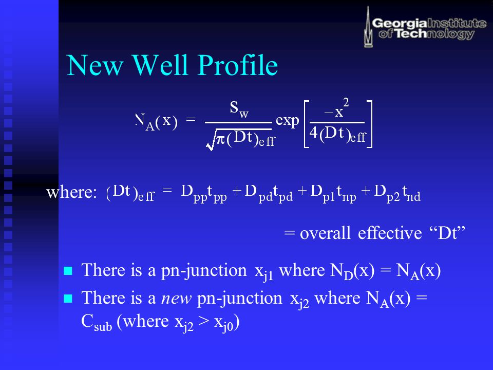 New Well Profile where: = overall effective Dt