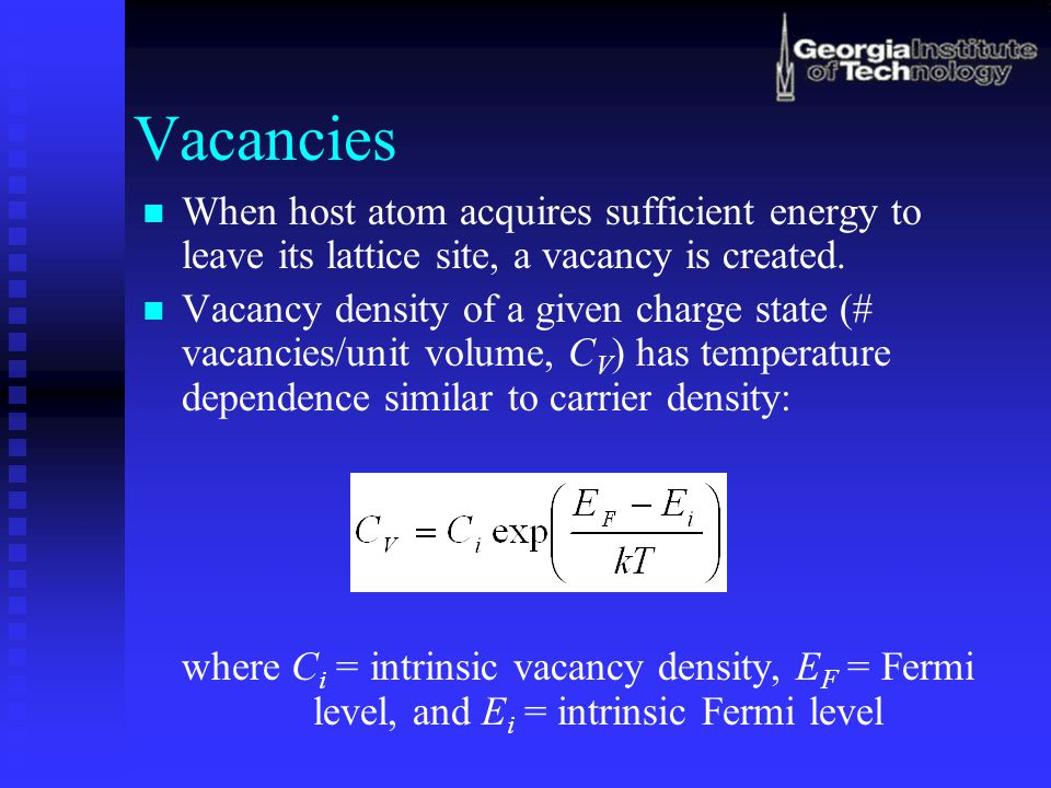 Vacancies When host atom acquires sufficient energy to leave its lattice site, a vacancy is created.